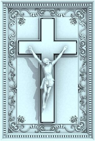 Jesus Christ Crucifix 3d Ornamental Frame Relief Stock Photo - 7776048
