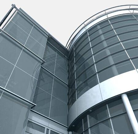 quadrant: 3d Building Glass Corner Entrance Circle and Quadrant