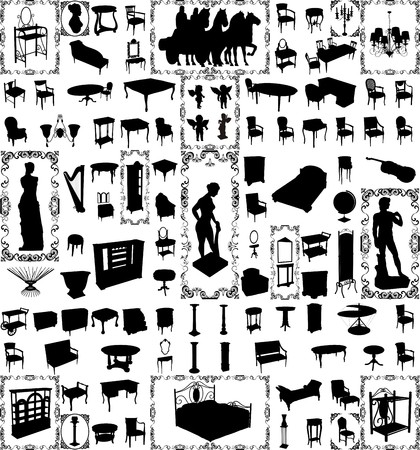 antique furniture: Antique Furniture And Objects Hundred  Illustration
