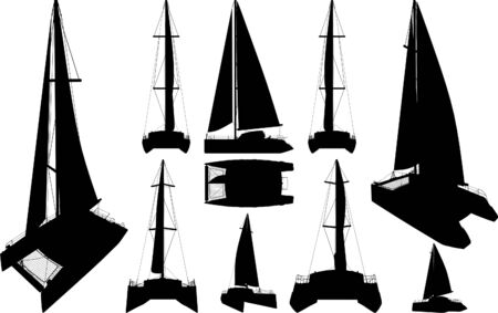 catamaran: Catamaran Boat Silhouettes  Illustration