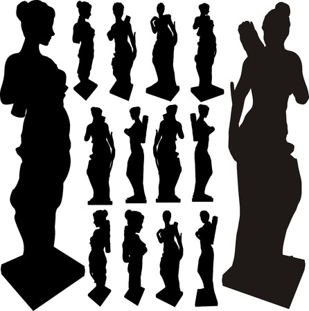 art museum: Ancient Statue Of Woman Silhouettes