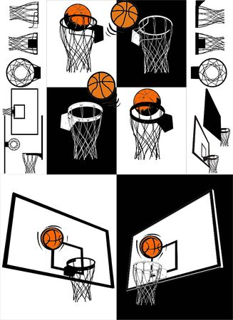 basketball shot: Basketball And Backboard