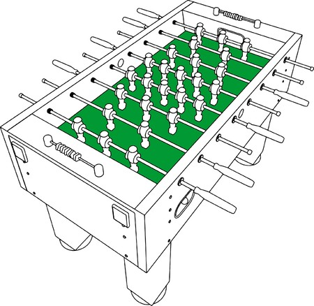 Table Football And Soccer Game Perspective 矢量图像