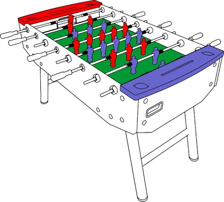 foosball: Table Football And Soccer Game Perspective Illustration
