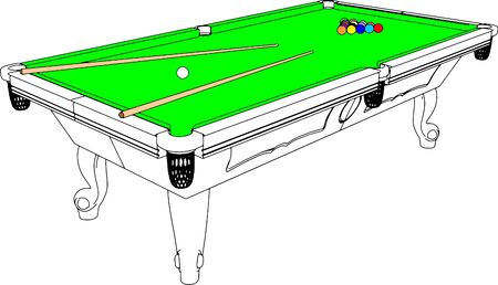 billiards tables: Billiards Snooker Table Perspective Illustration