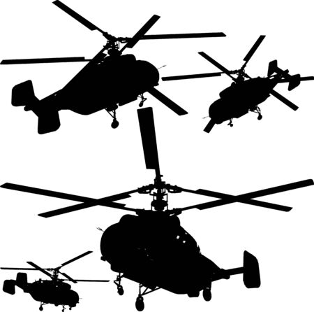 Helicopter Perspective Silhouettes Stock Vector - 7908960