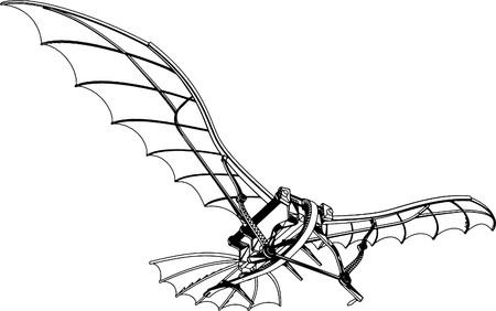 Flying Machine Based On The Leonardo da Vinci Antique Light Hang Glider