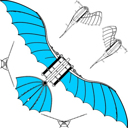 glide: Flying Machine Based On The Leonardo da Vinci Antique Light Hang Glider