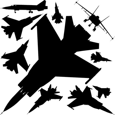Military Airplanes Silhouettes Vector