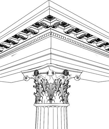 roman column: Greek Corinthian Column Illustration