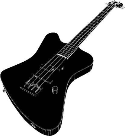 fingerboard: Electric Bass Guitar Illustration