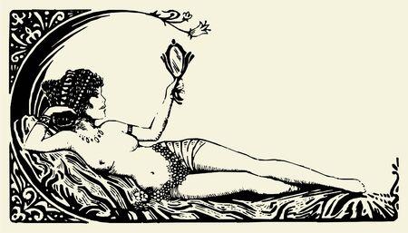 tattoo girl: Antig�edades vector de Beautiful Woman