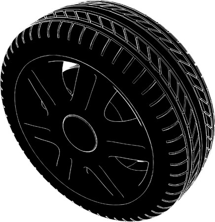 retreading: Car Wheel Tire Vector Illustration