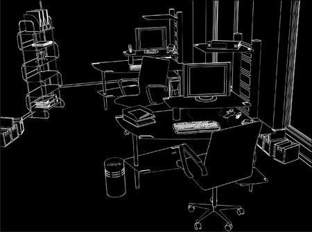 Interior Office Room Vector
