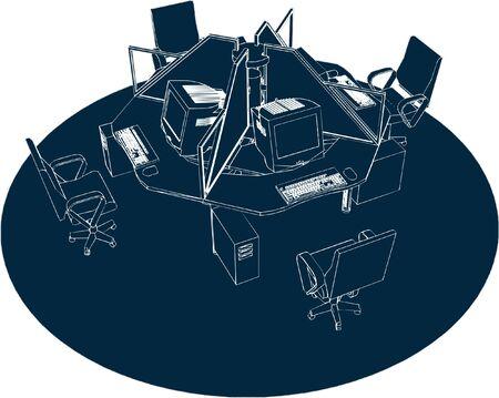 furnishing: Werkende plaats Office Vector