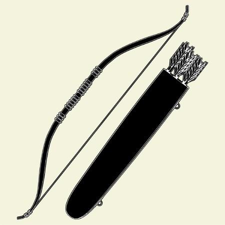 Indians Bow Arrow and Arrow Holder Vector