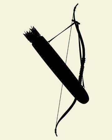 archer of bow: Indians Bow Arrow and Arrow Holder Vector