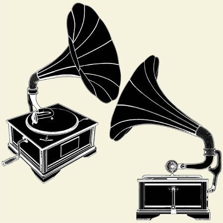 phonograph: Antique Gramophone Illustration