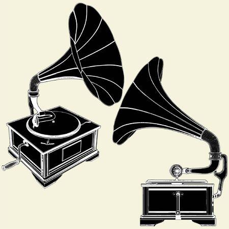 Antique Gramophone 矢量图像