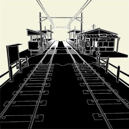 sooty: Antique Railway Station Illustration