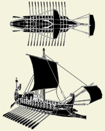 The Ancient Roman Ship Vector