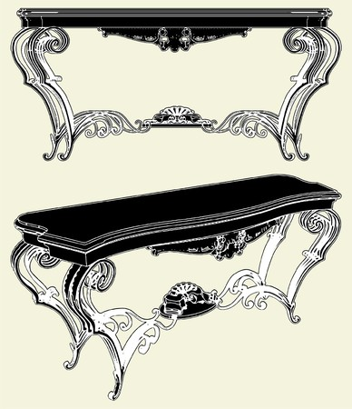 baroque room: Antique Table Illustration