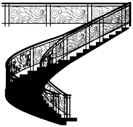 Spiral Staircase With The Fence