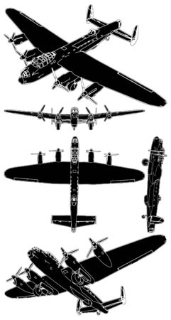 fighter pilot: Military Propeller Airplanes  Illustration