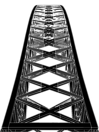 steel bridge: Arch Bridge Steel Structure  Illustration