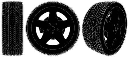 retreading: Car Wheel Tire Illustration