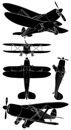 航空ショー: 複葉機  イラスト・ベクター素材