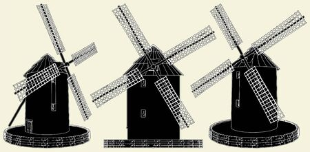 Antique Windmill Stock Vector - 8069481