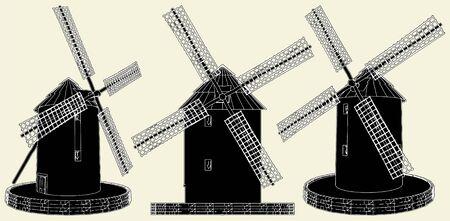 Antique Windmill Stock Vector - 8069481