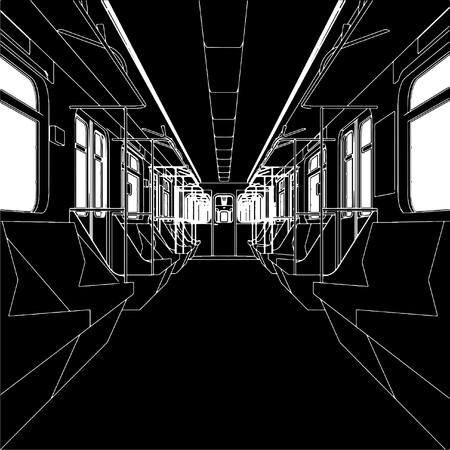 Inside Of Metro Train Wagon  矢量图像