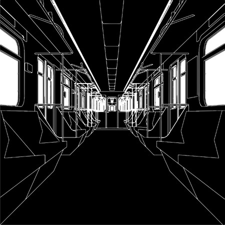 metro: Inside Of Metro Train Wagon  Illustration