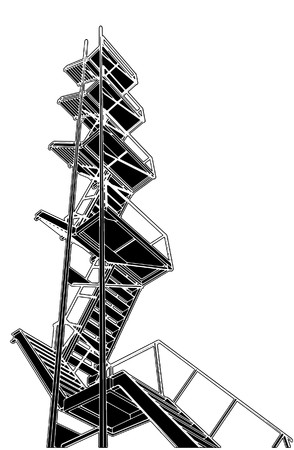 A Fire Escape Stairs Stock Vector - 8069503