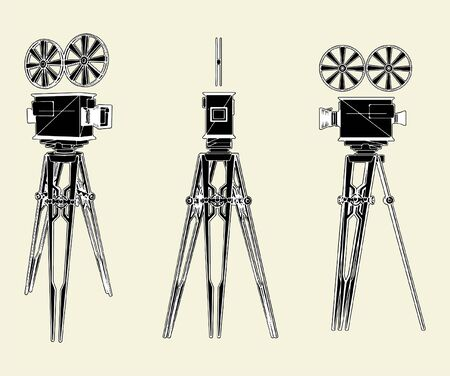 Antique Movie Stand Camera Vector