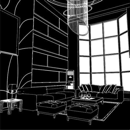 Modern Living Room Interior Stock Vector - 8069617