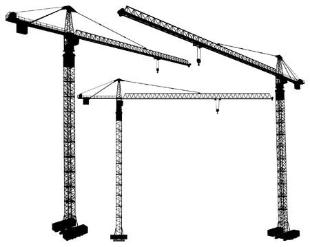 Elevating Construction Crane Vector Illustration