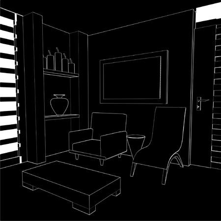 Modern Living Room Interior Stock Vector - 8069519
