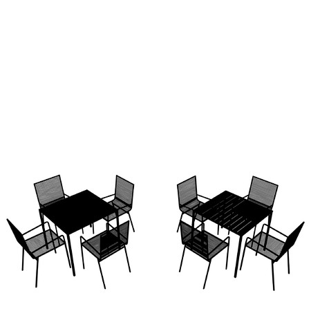 outdoor cafe: Outdoor Tables And Chairs Illustration