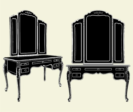 baroque room: Antique Mirror Commode Illustration