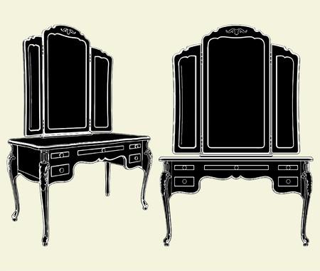 baroque furniture: Antique Mirror Commode Illustration