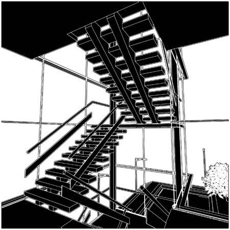 stair: Espacio de escalera interior Vectores