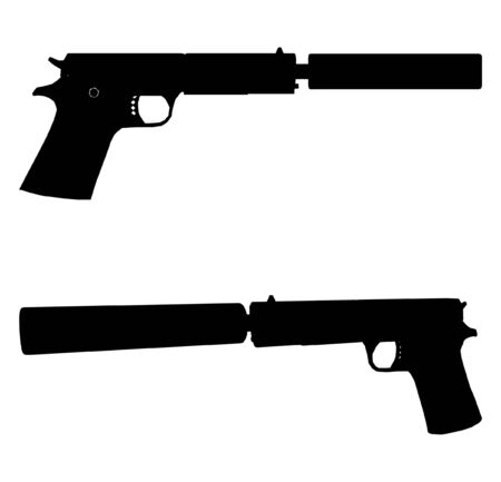 Pistol With Silencer Illustration