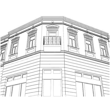 eclectic: Building Corner Eclectic House  Illustration