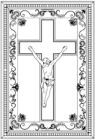 Jesus Christ Crucifix Ornamental Frame Relief Stock Vector - 8069560