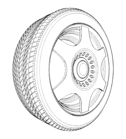 Car Wheel Tire Illustration
