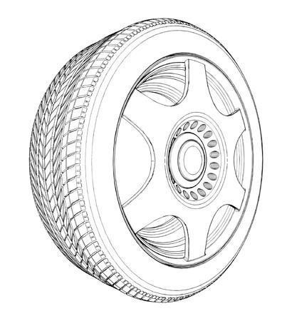 car wheel: Neum�tico de ruedas de coche Vectores