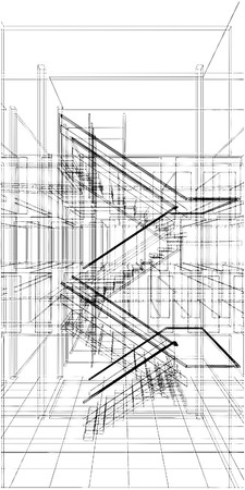 Abstract Construction Staircase Of The Line Vettoriali